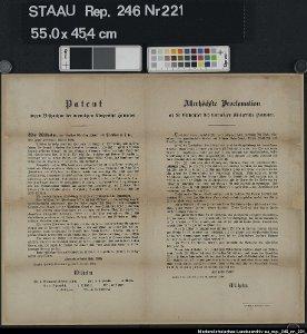 Patent wegen Besitznahme des vormaligen Königreichs Hannover