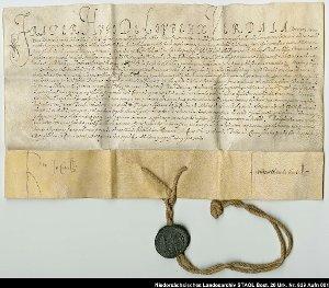 Der Großmeister des Johanniterordens bestätigt den mit dem Grafen von Oldenburg geschlossenen Vertrag bezüglich Abtretung von Johanniterkommenden
