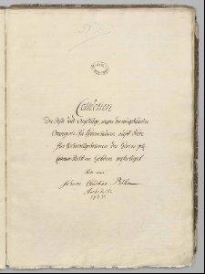 Collection der Riße und Anschläge, wegen der neugebaueten Orangerie zu Herrenhausen, auff ordre Ihro Hochwollgebohrnen des Herrn Geh. Cammer-Rahts von Gehlen verfertiget von mir Johann Christian Böhm Architecte 1727.
