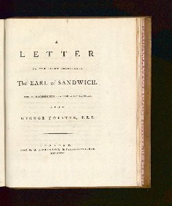 A Letter To The Rigth Honourable The Earl Of Sandwich, First Lord Commissioner Of The Board Of Admiraliy, &c.