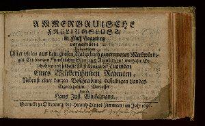 Ammergauische Frülingslust, in Fünf Tagzeiten vorgestellet