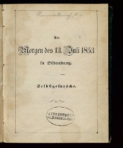 Am Morgen des 13. Juli 1853 in Oldenburg
