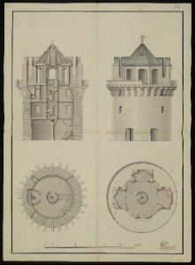 2 Entwurfszeichnungen der Sternwarte von Johann Paul Heumann und F.L. Kampe