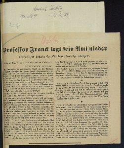 """Artikel Vossische Zeitung """"Professor Franck legt sein Amt nieder"""""""