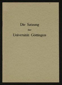 Die Satzung der Universität Göttingen