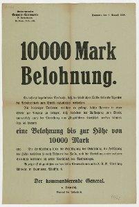 10.000 Mark Belohnung v[on] Hänisch, General der Infanterie