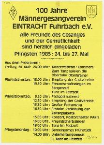 100 Jahre Männergesangverein Eintracht Fuhrbach e. V. 24. - 27. Mai 1985