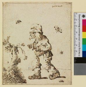 """""""horle voet"""" (Mann mit Zipfelmütze, kleiner Baum, Schmetterlinge)"""