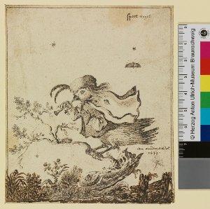 """""""speel vogel"""" (Zwitterwesen halb Mensch - halb Vogel auf kleinem Baum, Flöte spielend)"""