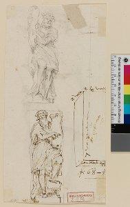 2 Skizzen zur Statue Hesekiels, daneben Skizze des Steinblocks mit Maßangaben