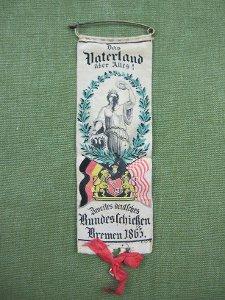 Ansteck-Schleife:  Zweites deutsches Bundesschießen Bremen 1865