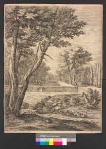 Arkadische Szene mit Kaskade und Wasserbecken