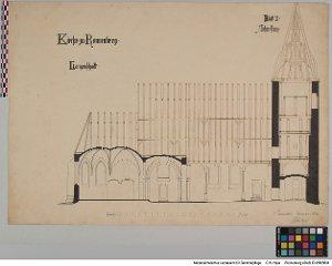 """Plan der Kirche zu Ronnenberg, Längenschnitt, Blatt 2, Aufmessung""""[OT Ronnenberg, Stadt Ronnenberg, Region Hannover]"""