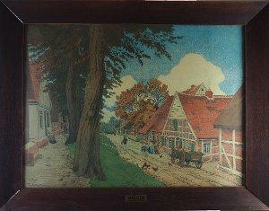 """""""Niederdeutsche Dorfstraße"""" Stader Straße Neuhaus/Oste, um 1902 (Friedrich Kallmorgen)"""