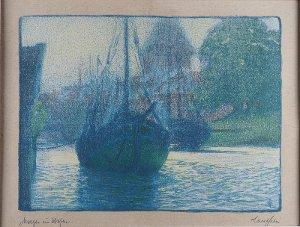 """""""Morgen im Hafen"""" Medem in Otterndorf, 1902 (Carl Langhein)"""