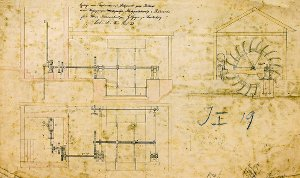 Anlage eines Triebwerkes mit Stelzenrad zum Betrieb von Wasserpumpe, Maischepumpe, Malzquetschwalze und Rührwerken für die Brauereibesitzer Gebrüder Geyer in (Bad) Lauterberg, 1882