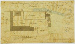 Situationsplan der Derenburger Graupenmühle zur Anlage eines Dampfkessels für Herrn A.C. Peters in Derenburg bei Wernigerode, 1875