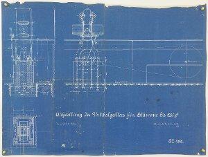 Aufstellung des Vertikalgatter bei Carl & Wöhlert in Bad Lauterberg, 1907