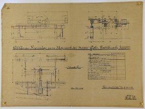Ablänge-Kreissäge für das Sägewerk der Gebrüder Fahlbusch in Seesen, 1910