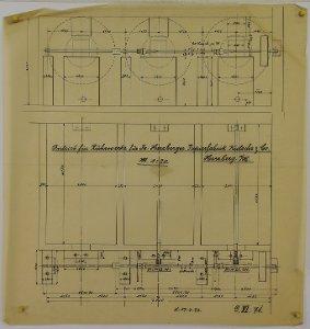 Antrieb für drei Rührwerke für die Herzberger Papierfabrik inHerzberg am Harz, 1923