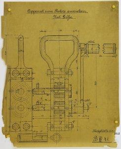 Apparat zum Rohre-ausziehen für Schwemmsteinformen, 1912