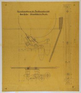 Abstreichvorrichtung für (einen) Walzenstuhl mit Porzellanwalzen von 300 mm Durchmesser, 1897
