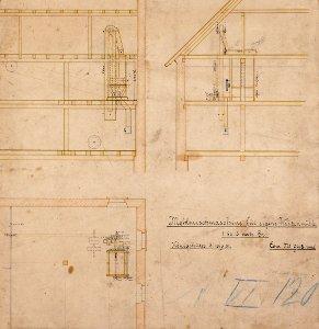 Aufstellungszeichnung zur Mehlmischanlage - für die Weizenmühle der Königshütte in (Bad) Lauterberg, 1881