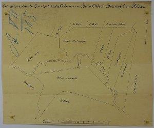 Situationsplan von Wohnhaus und Mühlengebäude von Herrn Ökonom Albert Holzapfel in Pöhlde, 1888