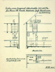 Einbau eines Diagonal-Schrotstuhles bei Herrn Albert Fraatz in Groß-Thiershausen, Post Catlenburg, 1921