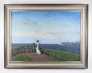 """""""Sommerwind"""" Frau am Elbdeich, um 1905 (C. Langhein)"""
