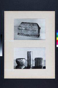 2 Fotos: Kästchen aus Zinn bzw. 3 Objekte aus Metall