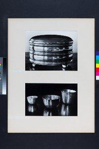2 Fotos: Zuckerdose aus Silber bzw. 3 Becher aus Metall