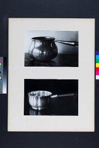 2 Fotos: Stieltopf aus Kupfer bzw. Stieltopf aus Silber