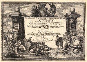 Georg Daniel Heumann: Wahre Abbildung der Stadt Göttingen (1747) - N. II. Titelseite