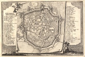 Georg Daniel Heumann: Wahre Abbildung der Stadt Göttingen (1747) - N. III. Goettingae Ichnographia
