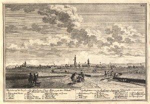 Georg Daniel Heumann: Wahre Abbildung der Stadt Göttingen (1747) - N. IV. Goettingen. Wie solches auf der Straße zu der Wehndischen Papier Mühle, gegen dem Wehnder  und Albaner Thor, anzusehen ist