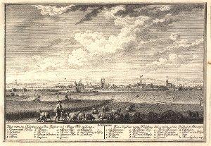 Georg Daniel Heumann: Wahre Abbildung der Stadt Göttingen (1747) - N. V. Goettingen. Wie es am Haynberg gegen dem Geismar und Albaner Thor außiehet
