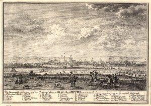 Georg Daniel Heumann: Wahre Abbildung der Stadt Göttingen (1747) - N. VI. Goettingen. Wie solches auf dem Leinberg gegen dem Gröner und Geismar Thor sich praesentiret