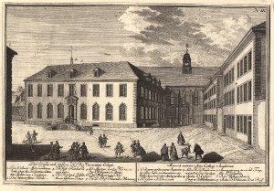 Georg Daniel Heumann: Wahre Abbildung der Stadt Göttingen (1747) - N. IX. Der Große und äußere Hof des Universitaets Collegii