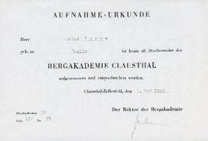 Aufnahme-Urkunde