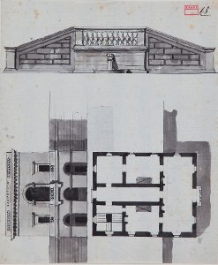 Ansicht einer Freitreppe - Entwurf eines Gartenhauses am Hang in Ansicht und Grundriss