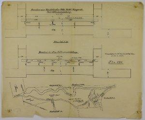 Grundriß zum Wüstenfeld'schen Wehr und Lageplan von der Mühle in Mingerode, 1918