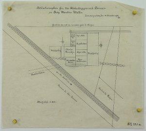 Situationsplan für das Alabastergipswerk Gamsen in Brig im Wallis, 1906
