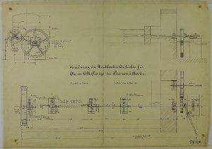 Anordnung des Dreschkasten-Antriebs für Herrn A. Traupe, Mühlenbesitzer in Parensen bei Nörten(-Hardenberg), 1906
